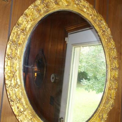 Oval gold leaf mirror $179 29 X 25 1/2