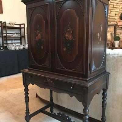 (1 of 4 pics) Amfurnoco secretary. Hand-painted flowers on sides and front. Mahogany wood. $550