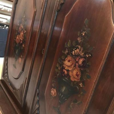 (2 of 4 pics) Amfurnoco secretary. Hand-painted flowers on sides and front. Mahogany wood. $550