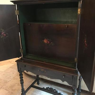 (3 of 4 pics) Amfurnoco secretary. Hand-painted flowers on sides and front. Mahogany wood. $550