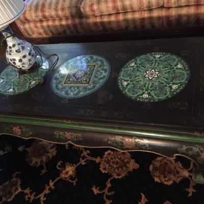 c.1900 Chinese Lacquer Table with Cloisonne Inserts