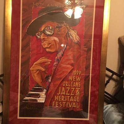 1999 New Orleans Jazz and Heritage Festival Poster Framed Professor Longhair by   https://www.ebay.com/itm/123361871380