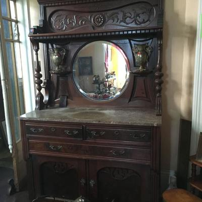 Buffet / Wash Stand with Mirror: Wood Antique PT0380  https://www.ebay.com/itm/123361885923