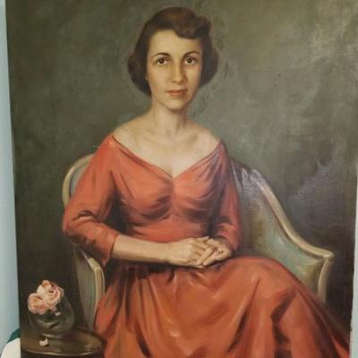 Painting of a Woman in a Red Dress Seated by Lester Bentley 40x32 canvas BD0909.  https://www.ebay.com/itm/123405245050