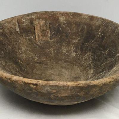 Hugh Antique Turkish Primitive Hand Craved Wooden Bowl ~ 2' diameter CW0114