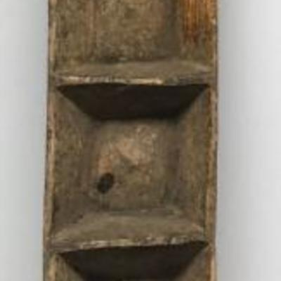 Hugh Antique Turkish Primitive Hand Craved Multi Sectional Wooden Bowl ~ 5' X 1' CW0111