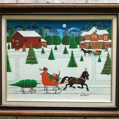 Primitve Americana Red Sleigh with horse Leo Bryant