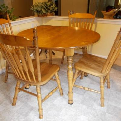 Maple table and 4 chairs $280