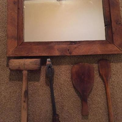 Vintage Wooden Tools and Mirror.