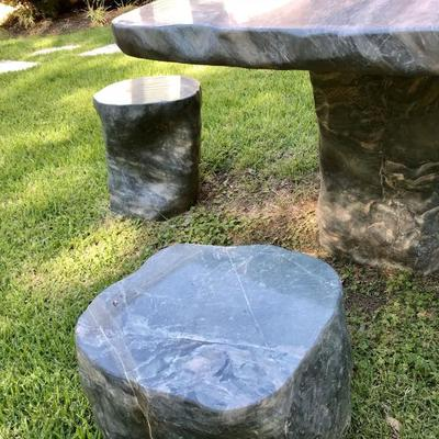 """JADE Marble Garden Table and Chairs. Very unique piece. 41"""" (W) x 36"""" (D) x 27"""" (H) Solid high quality marble. Excellent condition...."""