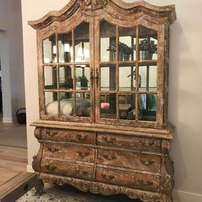 Custom made china cabinet by Cal Mode. Lights up on the inside. Large doors. 62