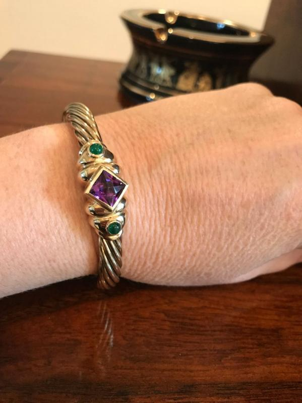 All jewelry reviewed and detailed by Jewelry Appraiser: DAVID YURMAN BRACELET. 14K GOLD WITH EMERALD AND AMETHYSTS. $4,850