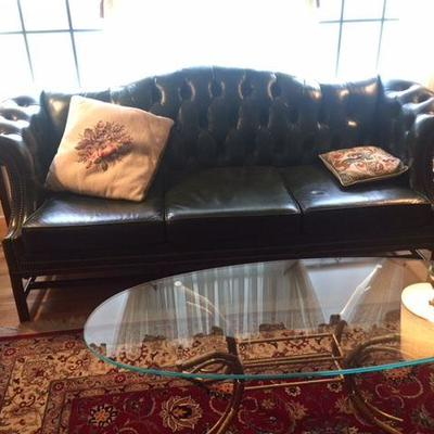 Fabulous Like New Tufted  Leather Chippendale Camelback Sofa
