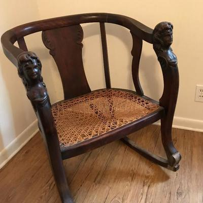 Antique Wooden Captain Style Rocking Chair Price $75