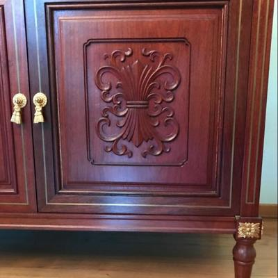 Imported from China in early 1980's Hand Carved Solid Rosewood Buffet Storage Cabinet With Drawers