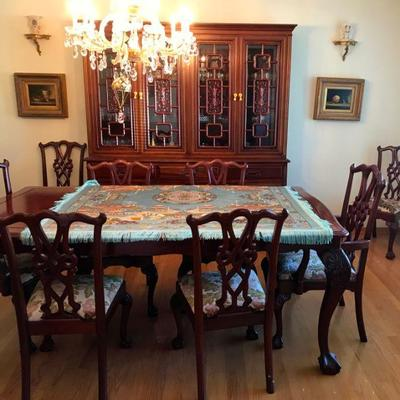 Imported from China in early 1980's Hand Carved Solid Rosewood Furniture With Gold Accent Hardware. Dining table, 1 extension leaf, 8...