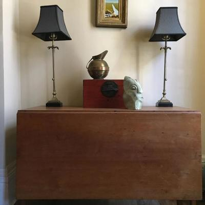 Drop Leaf Table, Chinese Box, Copper Pitcher, African Sculpture