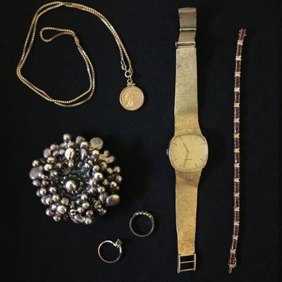 14K Movado Watch, Ruby and Diamond Tennis Bracelet, Gold Jewelry, Sterling Jewelry, Costume Jewelry