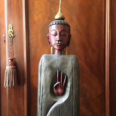 Avalokitesvara Carved Giltwood Statue