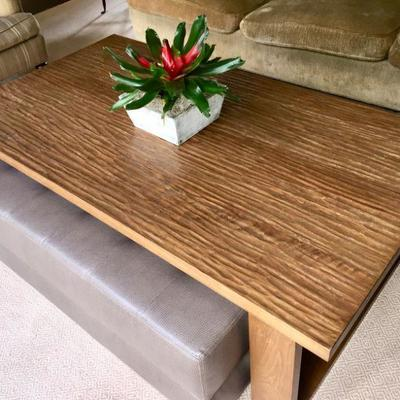Custom made rustic coffee table with roll out ottoman