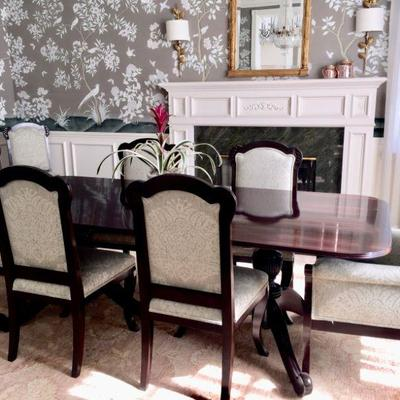 British Colonial style double pedestal dining table with 8 chairs