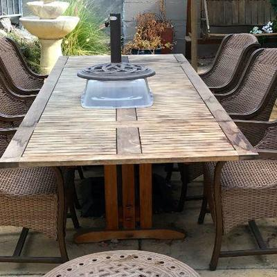 Les Jardins Teak Patio Dining Extension Table 6 AGIO Durable Wicker Chairs With Sunbrella Fabric, And Matching Club Chair With Ottoman...