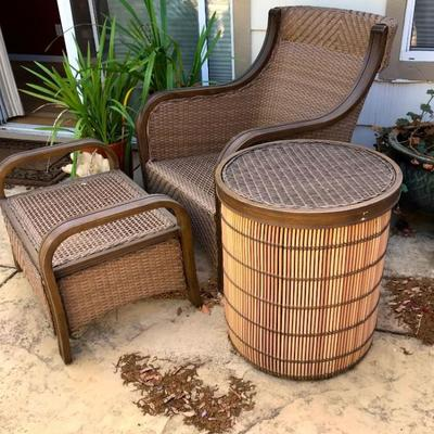 6 AGIO Durable Wicker Chairs With Sunbrella Fabric, And Matching Club Chair With Ottoman And Side Barrel Table.