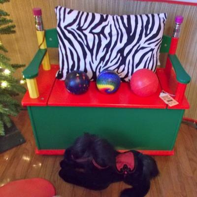 Pencil Bench/toy box $49 Zebra pillow $12 Plush black horse $15