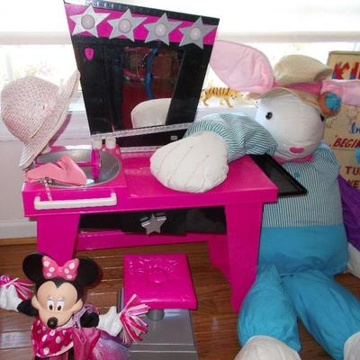 Walking mini mouse $20 2 Piece dressing table $40 Large bunny $42