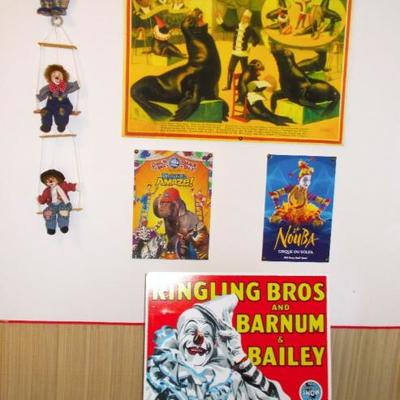 3 Trapeze clown set on swing $65 4 Large circus poster mounted $35 each 2 Medium $20
