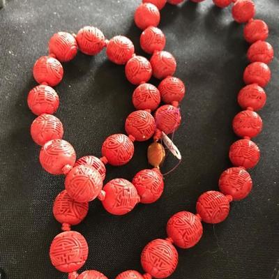Cinnabar necklace. $150
