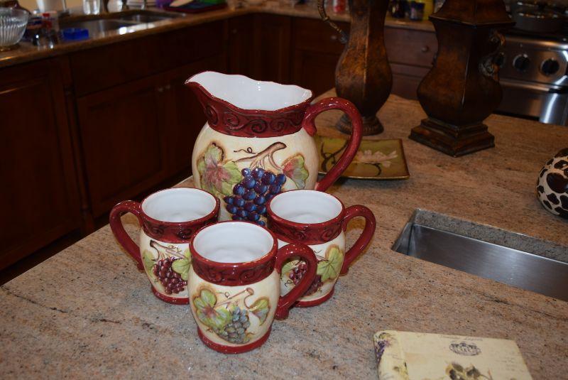 Ceramic Pitcher & Mugs