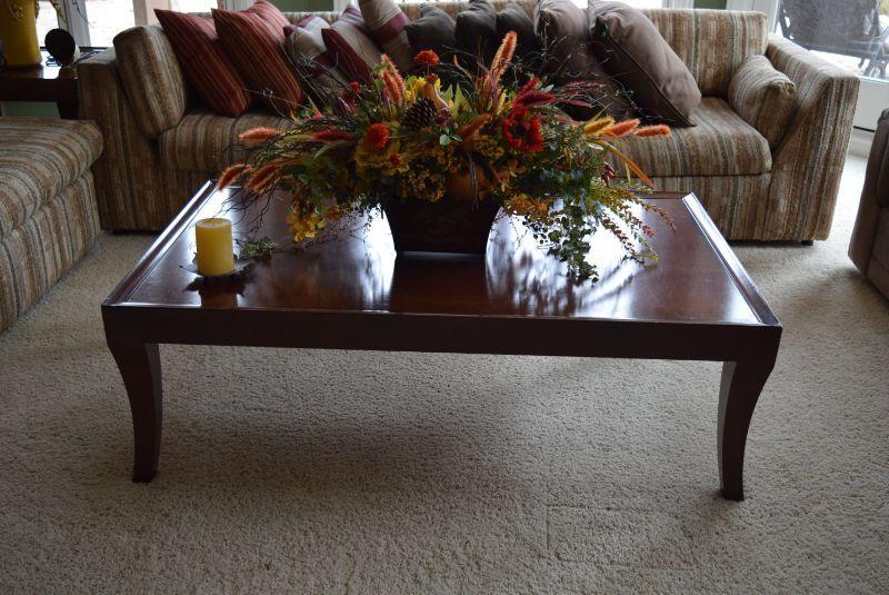 Coffee Table & Artificial Floral Arrangement