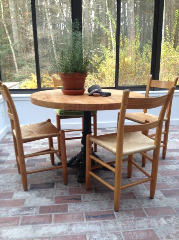 Vintage Round Butcher Block table with cast iron base