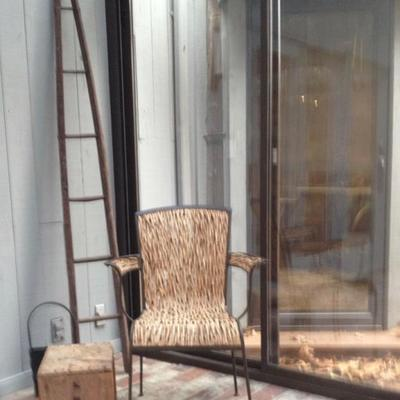 Antique apple picking ladder, iron chair with wood vine seat