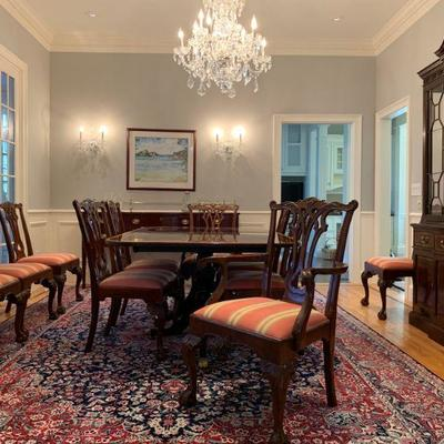 Stickley Banded Double Pedestal Dining Table with Twelve Carved Frame Chippendale Chairs