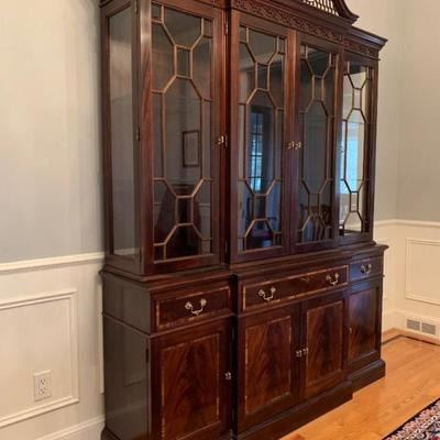 Stickley Breakfront China Hutch with Swan Pediment