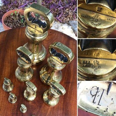 19th Century antique brass bell shaped weights from England. Marked with the
