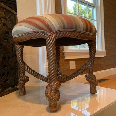 Rope and Knot Base Stools, Pair