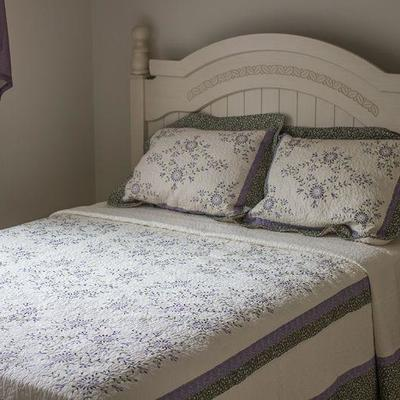 Soft-white (linen), queen three piece bedroom set by Design by Ashley with headboard, bedside table, and dresser with mirror.