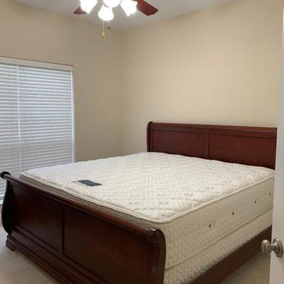 This is a King Cherry Sleigh Bed with Mattress and Box Springs included in Price
