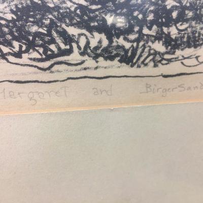 Signature in pencil Margaret and Birger Sandzen