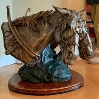 Large Budweiser Clydesdale bronze and pewter sculpture by S. Keliam table base (glass top not provided),  31