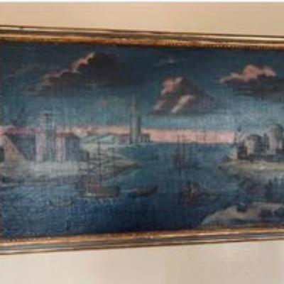 Late 18th C inlet scene oil painting