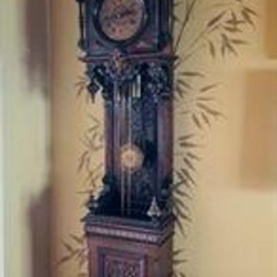 German ebonized late 19th Century grandfather clock