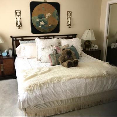 DREXEL King bedroom set; Bed w/mattress, dresser w/mirror, and pair nightstand cabinets