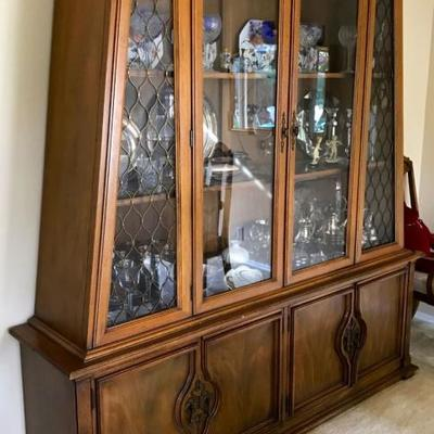 Unique style china and crystal display and cabinet.