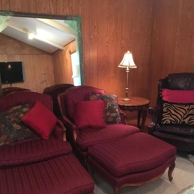 Burgandy Chairs with Ottomans & Large Mirror