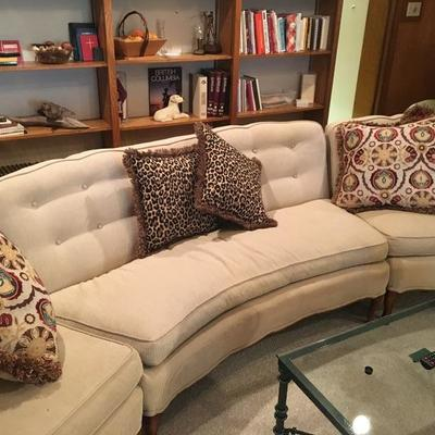 3 piece curved sofa. Loveseat with Chairs on ends.