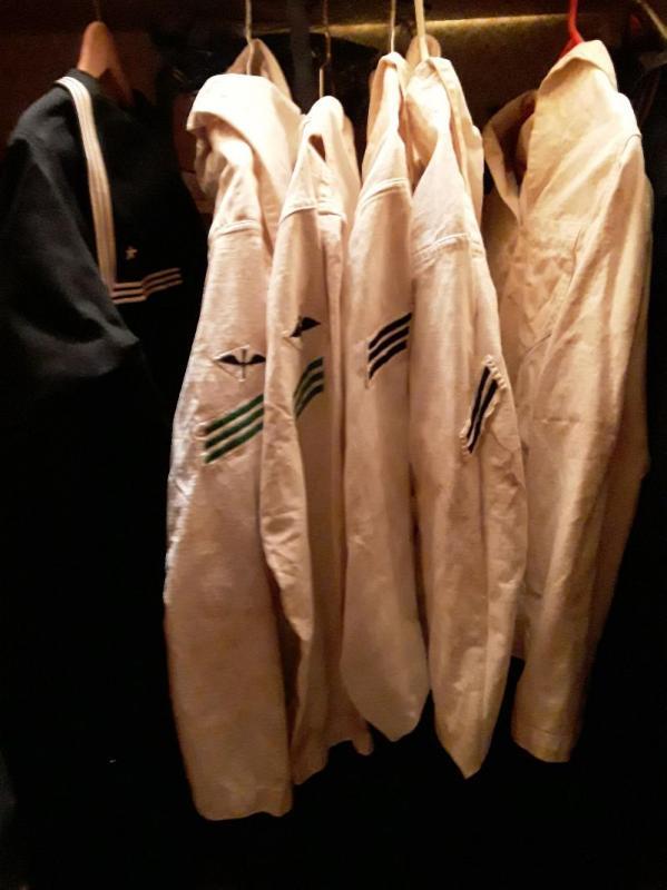 WW1 Navy Blue & White Cracker Jack Uniforms. 1 White Navy Duffle Bag,